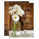 Mason Jar White Daisies Barn Wedding Invitation
