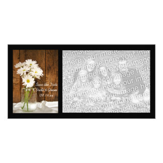 Mason Jar White Daisies Barn Wedding Save the Date Card