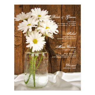 Mason Jar White Daisies Country Barn Wedding Menu