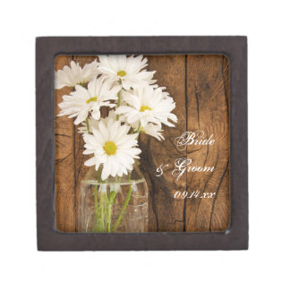 Mason Jar White Daisies Country Wedding Gift Box Premium Jewelry Box