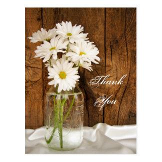 Mason Jar White Daisies Country Wedding Thank You Post Cards