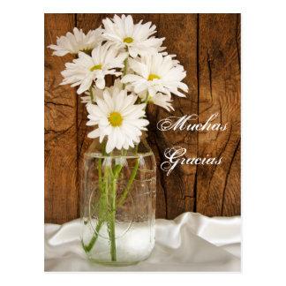 Mason Jar White Daisies Gracias Spanish Thank You Postcard