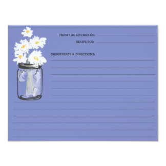Mason Jar & White Daisies Recipe Card