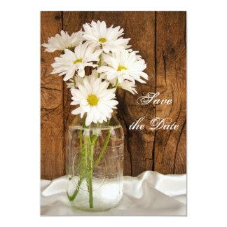Mason Jar White Daisies Sweet 16 Save the Date 5x7 Paper Invitation Card
