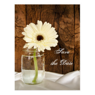 Mason Jar White Daisy Quinceañera Save the Date Postcard