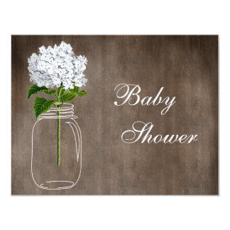 Mason Jar & White Hydrangea Rustic Baby Shower Card