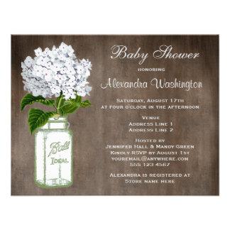 Mason Jar White Hydrangea Rustic Baby Shower Custom Invites