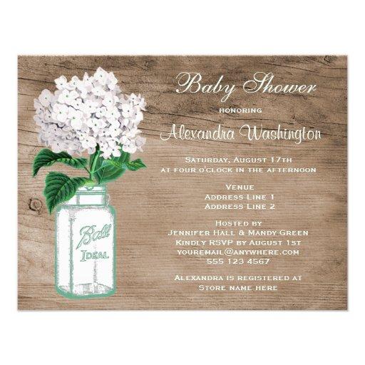 mason jar white hydrangea rustic baby shower x 5 5 inv