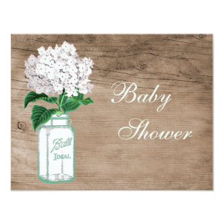 Mason Jar & White Hydrangea Rustic Baby Shower 4.25x5.5 Paper Invitation Card