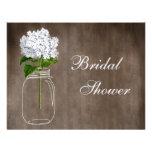 Mason Jar & White Hydrangea Rustic Bridal Shower Invitations