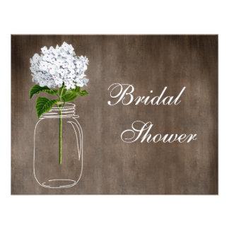 Mason Jar White Hydrangea Rustic Bridal Shower Invitations