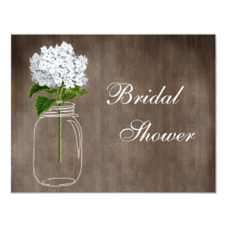 Mason Jar & White Hydrangea Rustic Bridal Shower Invitations