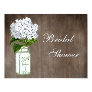 Mason Jar & White Hydrangea Rustic Bridal Shower 4.25x5.5 Paper Invitation Card