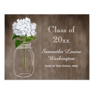 Mason Jar White Hydrangea Rustic Graduation Party 4.25x5.5 Paper Invitation Card