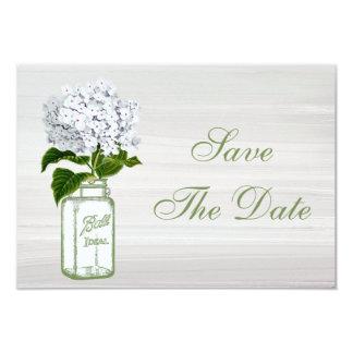 Mason Jar & White Hydrangea Save The Date Wedding Card