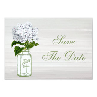 Mason Jar & White Hydrangea Save The Date Wedding Personalized Announcement