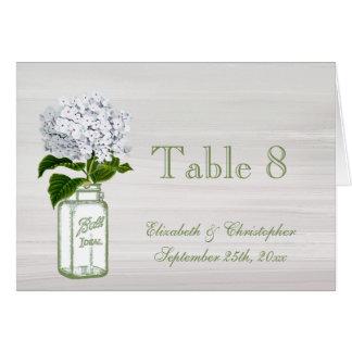 Mason Jar & White Hydrangea Wedding Table Number Card