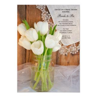 Mason Jar White Tulips Country Barn Bridal Shower Card