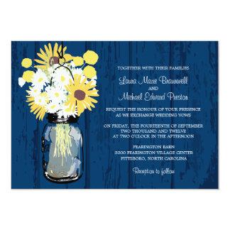 Mason Jar Wild Daisies Sunflowers & Billy Balls 5x7 Paper Invitation Card