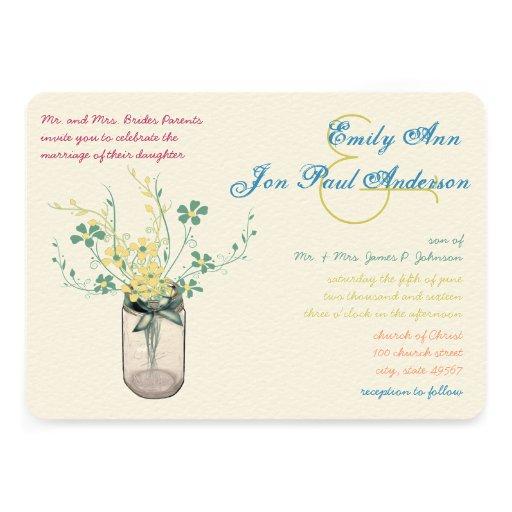 Mason Jar Wild Flower Sage and Mustard Yellow Custom Invitations