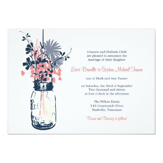 Mason Jar & Wild Flowers Card