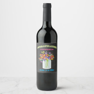 Mason Jar wild flowers Congratulations wine label