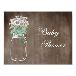 Mason Jar & Wild Flowers Rustic Baby Shower Card