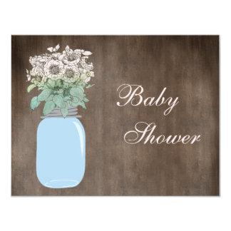 Mason Jar & Wild Flowers Rustic Baby Shower 4.25x5.5 Paper Invitation Card