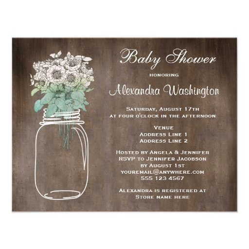 Mason Jar & Wild Flowers Rustic Baby Shower Personalized Invitation