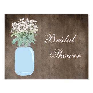 Mason Jar & Wild Flowers Rustic Bridal Shower 4.25x5.5 Paper Invitation Card