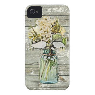 Mason jar wildflower barn wood french country Case-Mate iPhone 4 case