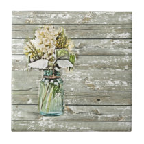 Mason jar wildflower barn wood french country ceramic tile