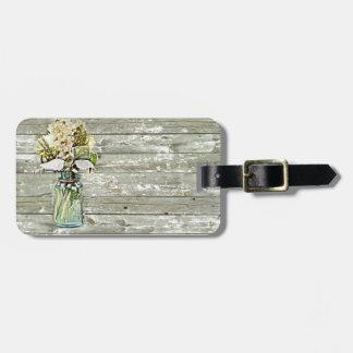 Mason jar wildflower barn wood french country luggage tag