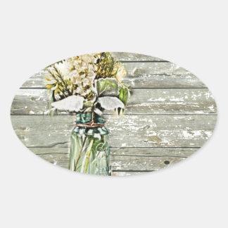 Mason jar wildflower barn wood french country oval sticker