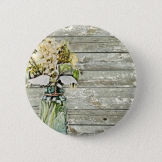 Mason jar wildflower barn wood french country pinback button