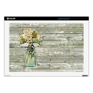 "Mason jar wildflower barn wood french country skin for 17"" laptop"