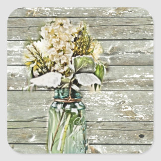 Mason jar wildflower barn wood french country square sticker