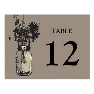 Mason Jar & Wildflower Table Card