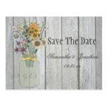 Mason Jar Wildflowers Barn Wood Save The Date Postcard
