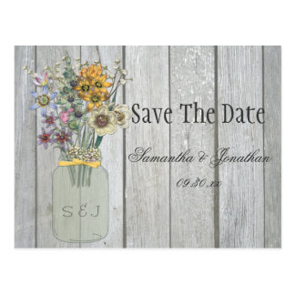 Mason Jar Wildflowers Barn Wood Save The Date Postcard