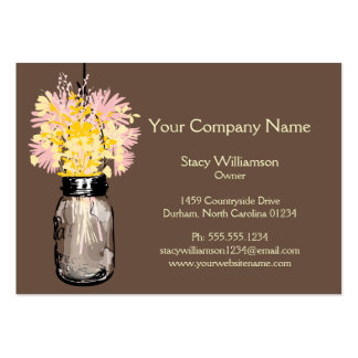 Mason Jar & Wildflowers Large Business Cards (Pack Of 100)