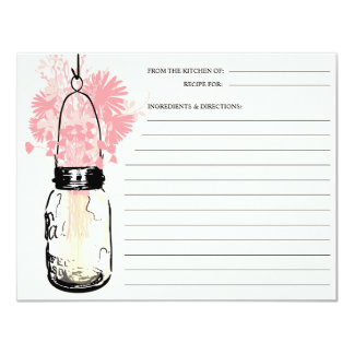 Mason Jar & Wildflowers Recipe Card