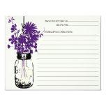 Mason Jar & Wildflowers Recipe Card Custom Invites