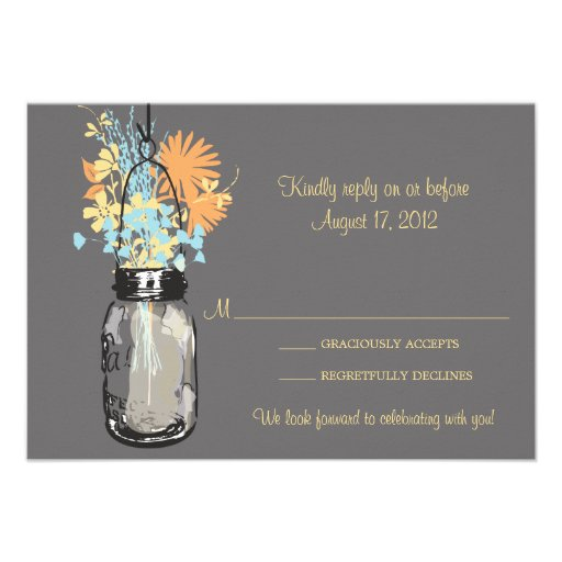 Mason Jar & Wildflowers RSVP Card Announcements