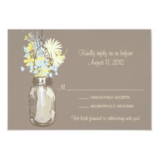 Mason Jar & Wildflowers RSVP Card