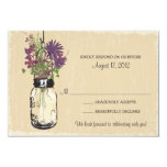 Mason Jar & Wildflowers RSVP Card Personalized Announcement