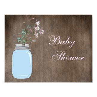 Mason Jar & Wildflowers Rustic Baby Shower 4.25x5.5 Paper Invitation Card