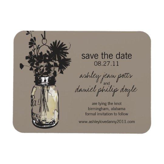 Mason Jar & Wildflowers Save the Date Magnet