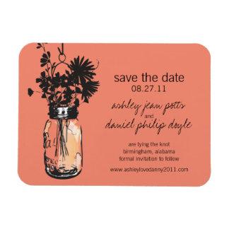 Mason Jar & Wildflowers Save the Date Rectangular Magnet