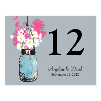 Mason Jar & Wildflowers Table Card